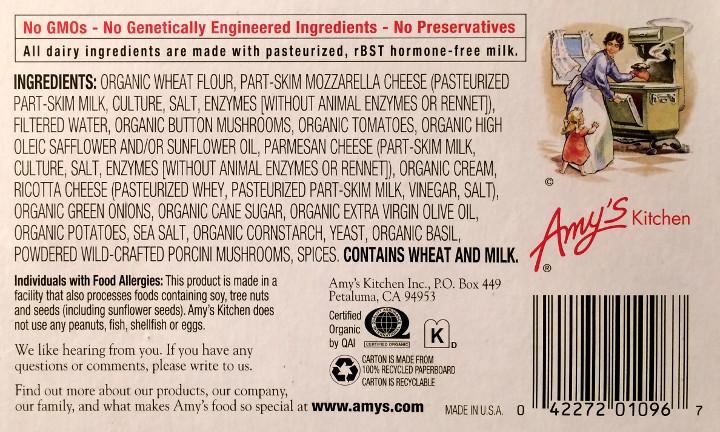 Amy's Mushroom & Cheese Swirls