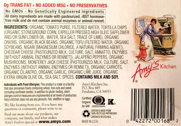 Amy's Tortilla Casserole & Black Beans