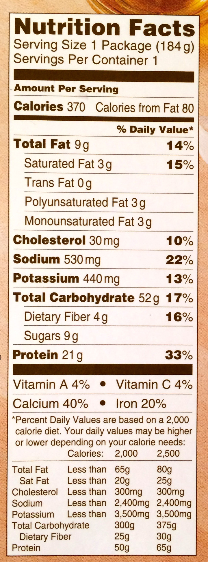 This is a picture of Adaptable Lean Cuisine Ingredients Label