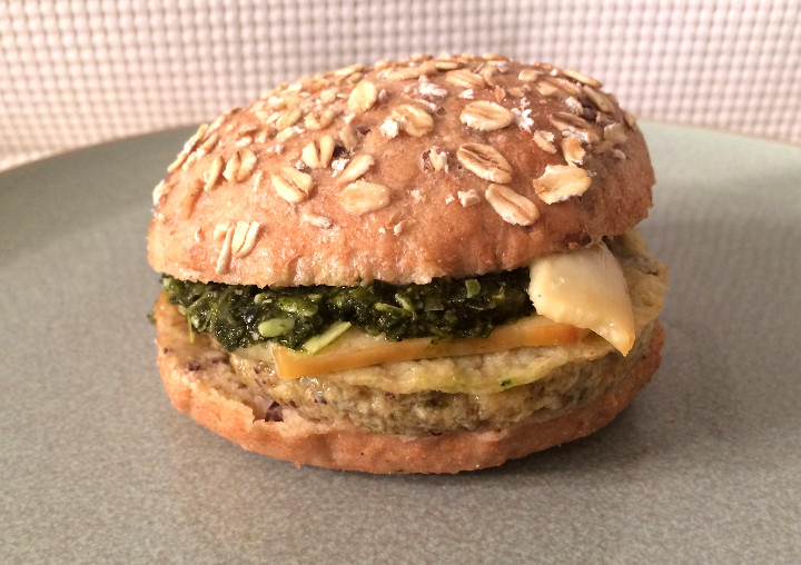 Sweet Earth Sausage, Egg, Smoked Gouda and Kale Pesto Farmstand Breakfast Sandwich