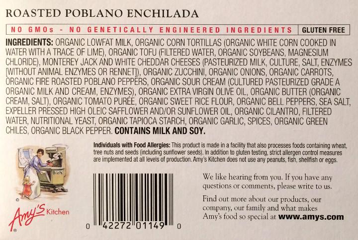 Amy's Roasted Poblano Enchilada