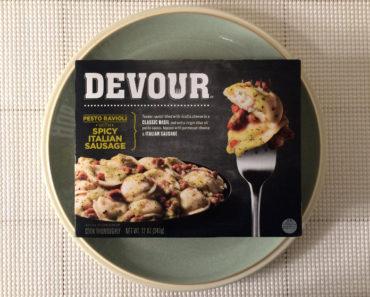 Devour Pesto Ravioli with Spicy Italian Sausage