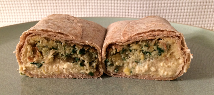 TaDah! Lemony Roasted Garlic Hummus Falafel Wrap