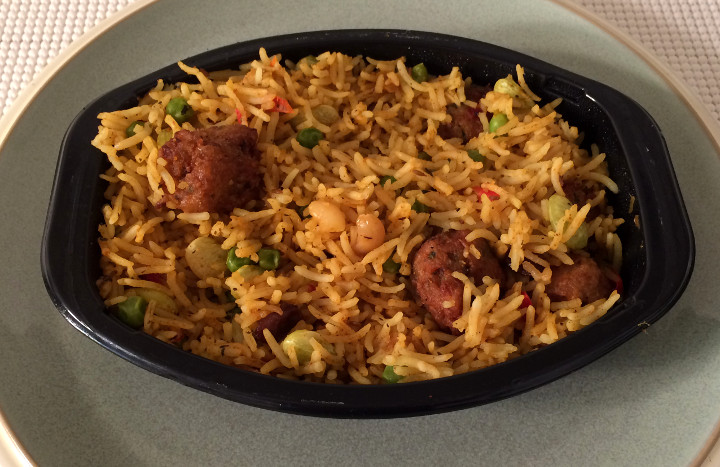 Trader Joe S Vegetable Biryani With Vegetable Dumplings Review Freezer Meal Frenzy