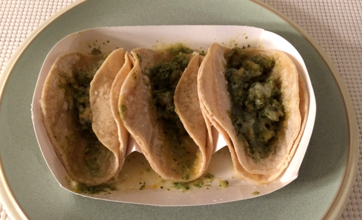 Trader Joe's Shrimp Soft Tacos with Tomatillo Sauce & Cotija Cheese