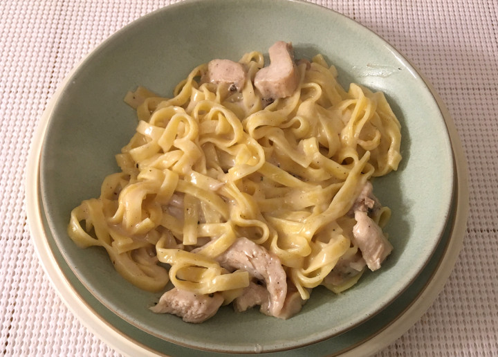 Trader Joe's Fettuccine Alfredo with Grilled Chicken