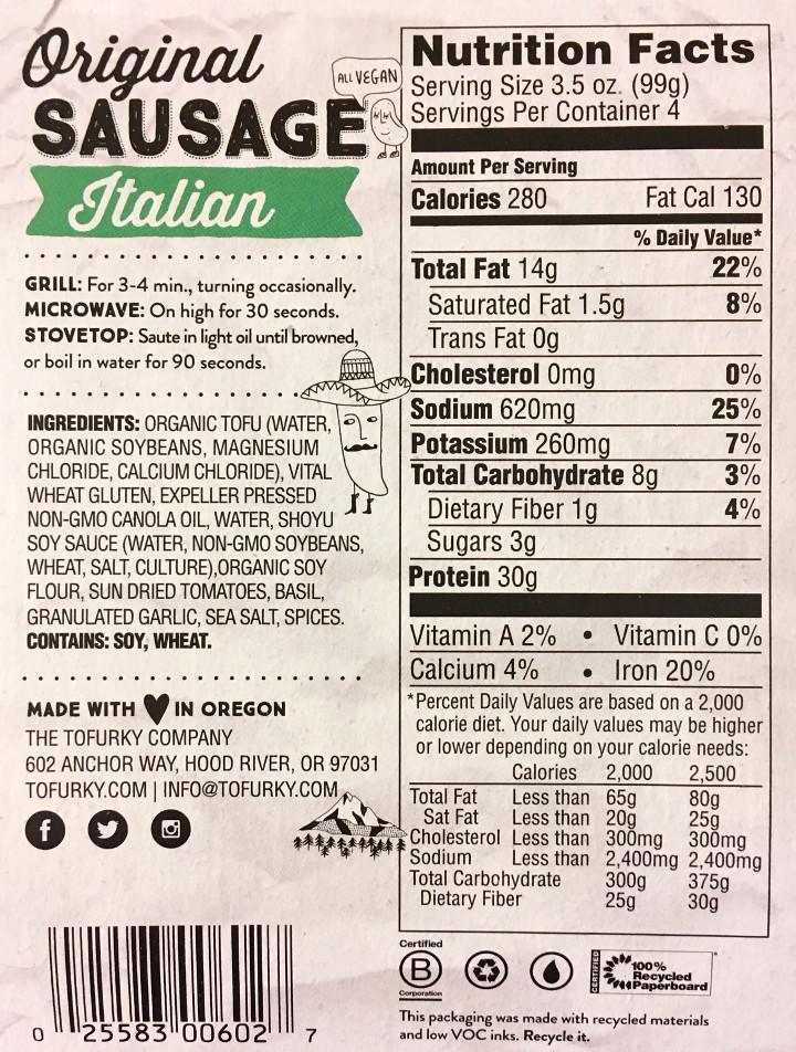 Tofurky Italian Sausage