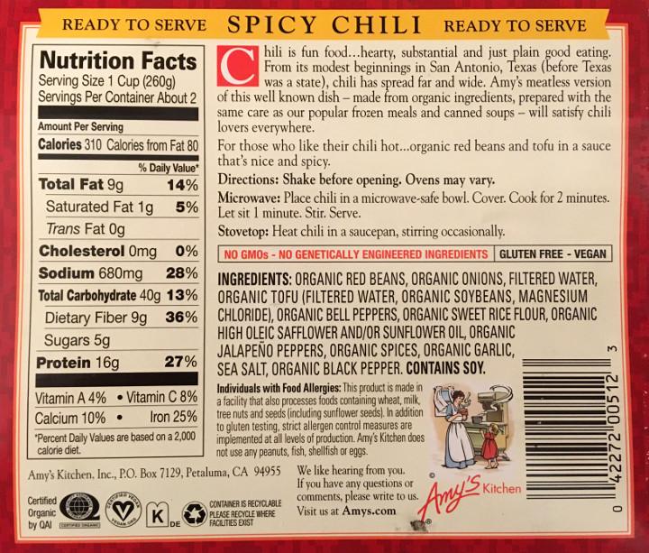 Amy's Organic Spicy Chili