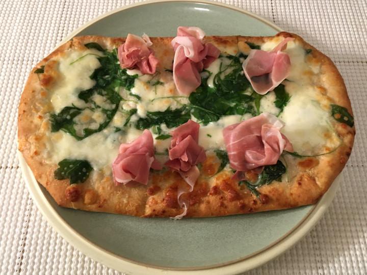 Trader Joe's Burrata, Prosciutto & Arugula Flatbread Pizza