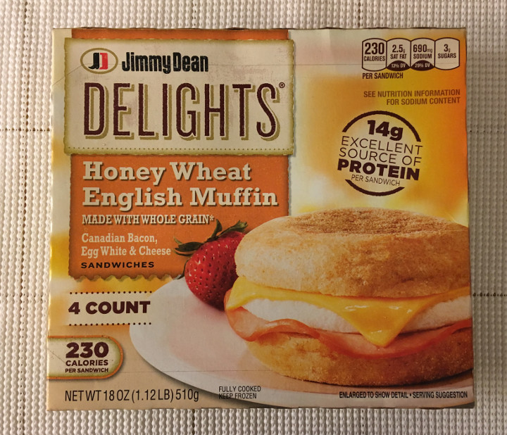 Jimmy Dean Delights - Canadian Bacon, Egg White & Cheese Honey Wheat English Muffin Breakfast Sandwiches