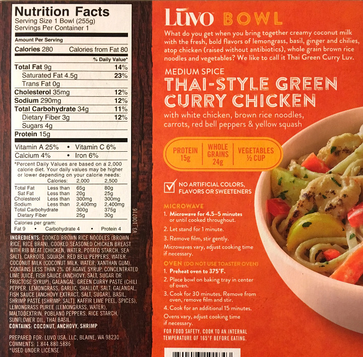 Luvo Thai-Style Green Curry Chicken Bowl
