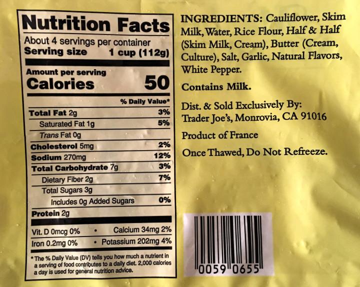 Trader Joe's Mashed Cauliflower