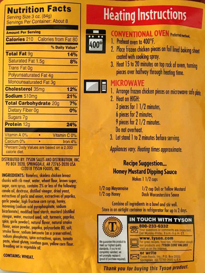 Tyson Any'tizers Honey BBQ Flavored Boneless Chicken Bites
