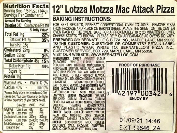 Lotzza Motzza Mac Attack Mac & Cheese Pizza