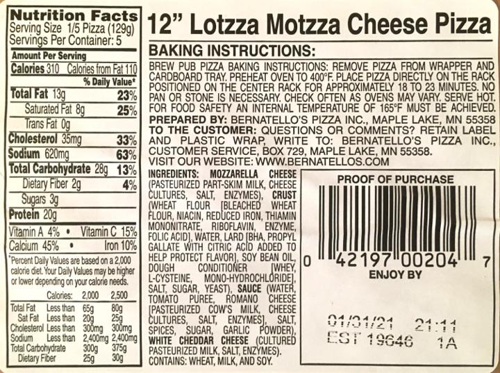 Lotzza Motzza Cheese Pizza