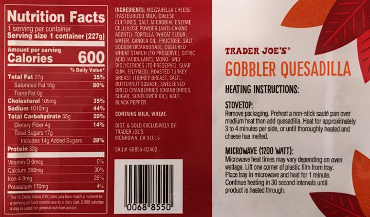 Trader Joe's Gobbler Quesadilla