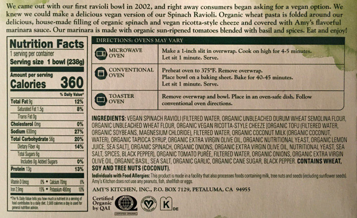 Amy's Vegan Spinach & Cheeze Ravioli
