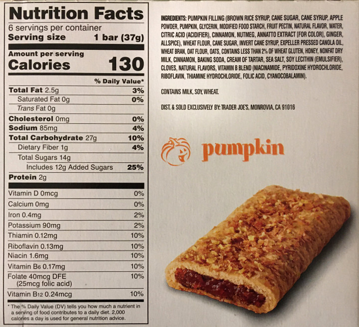 "Trader Joe's ""This Pumpkin Walks into a Bar..."" Cereal Bars"
